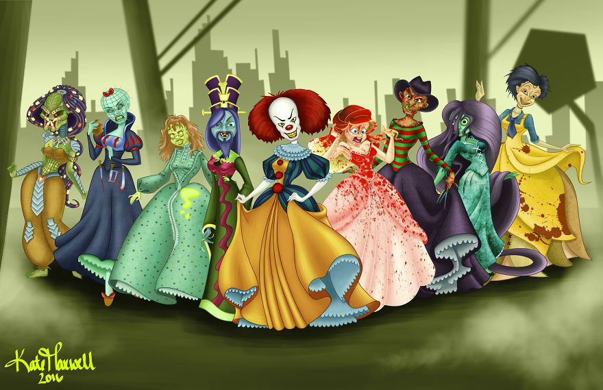 des-personnages-de-films-d-horreur-en-princesses-Disney-par-​Kate-Maxwell-all
